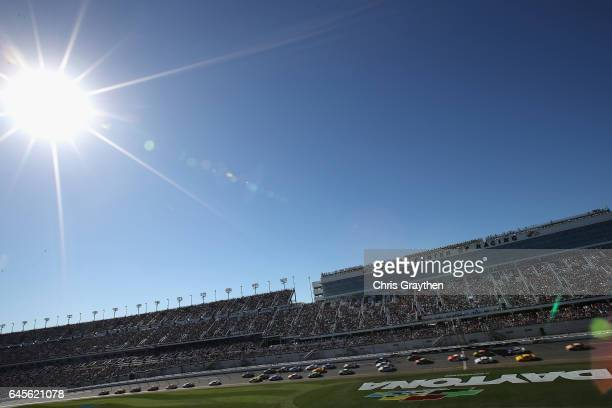 A general view as cars race during the 59th Annual DAYTONA 500 at Daytona International Speedway on February 26 2017 in Daytona Beach Florida