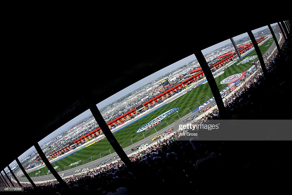 General view as cars race during the NASCAR Sprint Cup Series Auto Club 400 at Auto Club Speedway on March 22 2015 in Fontana California