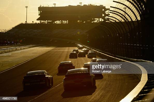 A general view as cars race during the NASCAR Sprint Cup Series Ford EcoBoost 400 at HomesteadMiami Speedway on November 22 2015 in Homestead Florida