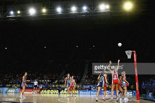 A general view as Catherine Cox of the Swifts has a shot for goal during the round 12 ANZ Championship match between the Melbourne Vixens and the...