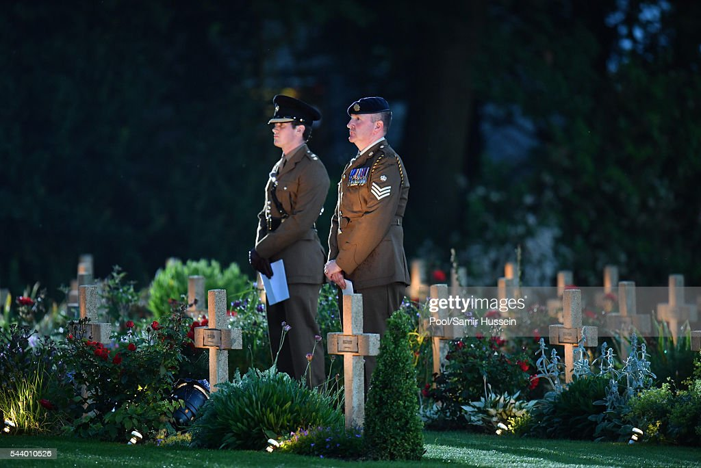 A general view as Catherine, Duchess of Cambridge, Prince William, Duke of Cambridge and Prince Harry attend the Somme Centenary commemorations at the Thiepval Memorial on June 30, 2016 in Thiepval, France.