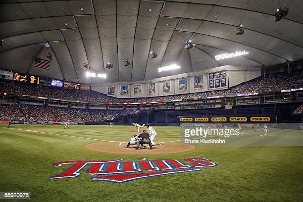 General view as CC Sabathia of the New York Yankees pitches to Joe Mauer of the Minnesota Twins on July 7 2009 at the Metrodome in Minneapolis...
