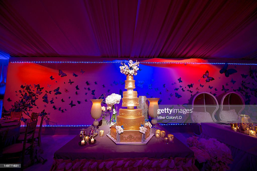 General view as Chad Ochocinco and Evelyn Lozada marry at Le Chateau des Palmiers on July 4, 2012 in St. Maarten, Netherlands Antillies.