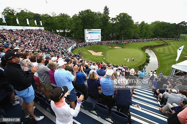 General View as Chris Wood of England celebrates victory on the 18th green during day four of the BMW PGA Championship at Wentworth on May 29 2016 in...