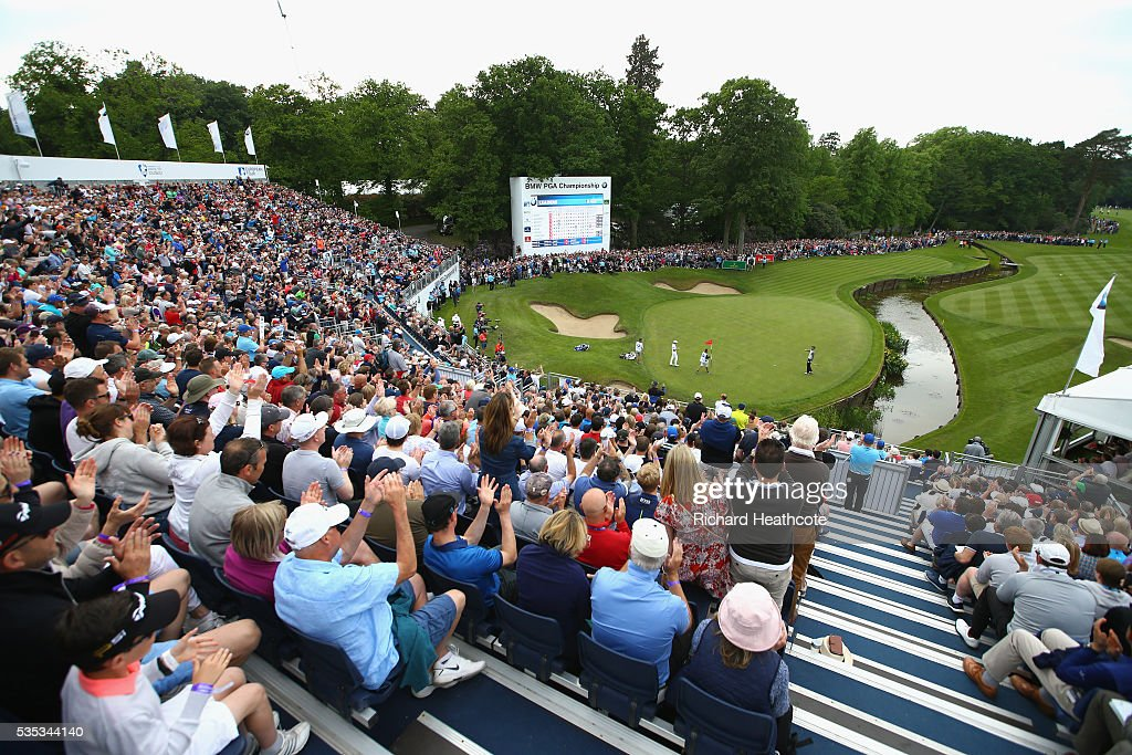 General View as <a gi-track='captionPersonalityLinkClicked' href=/galleries/search?phrase=Chris+Wood+-+Golf&family=editorial&specificpeople=4601133 ng-click='$event.stopPropagation()'>Chris Wood</a> of England celebrates victory on the 18th green during day four of the BMW PGA Championship at Wentworth on May 29, 2016 in Virginia Water, England.