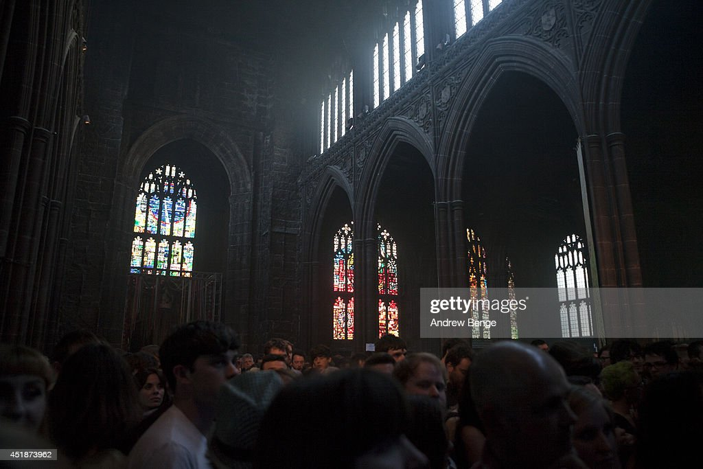 A general view as Conor Oberst performs on stage at Manchester Cathedral on July 8, 2014 in Manchester, United Kingdom.