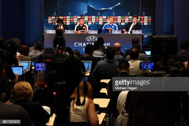 A general view as Craig Shakespeare and Kasper Schmiechel speak during a Leicester City press conference ahead of their UEFA Champions League...