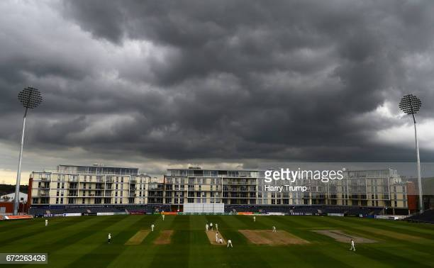 General view as dark skies surround the ground during the Specsavers County Championship Division Two match between Gloucestershire and Durham at The...