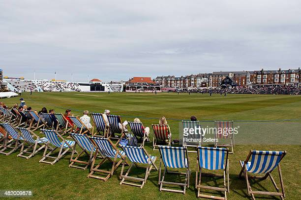 A general view as deck chairs are lined up on the boundary during the Royal London OneDay Cup between Yorkshire Vikings and Gloucestershire at North...