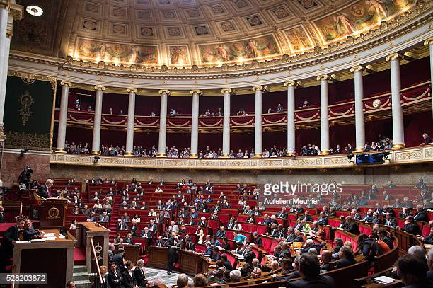 A general view as deputies arrive before the weekly questions to the government at French National Assembly on May 04 2016 in Paris France