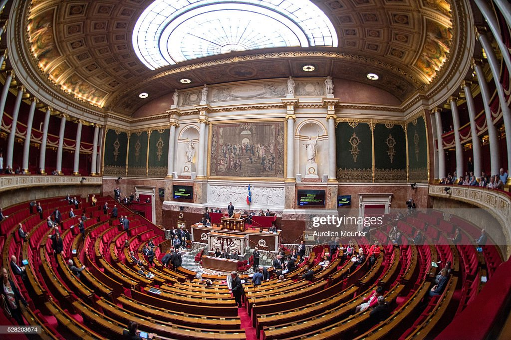 A general view as deputies arrive before the weekly questions to the gouvernment at French National Assembly on May 04, 2016 in Paris, France.