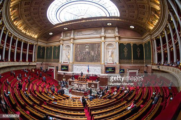 A general view as deputies arrive before the weekly questions to the gouvernment at French National Assembly on May 04 2016 in Paris France
