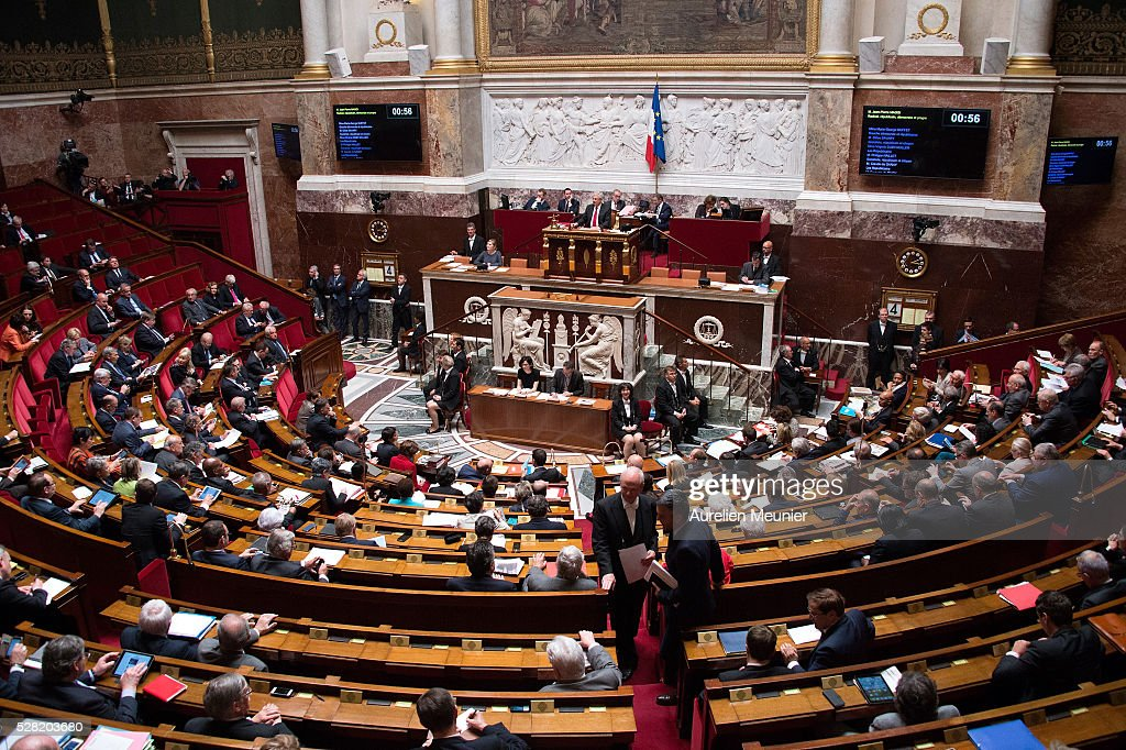 A general view as deputies arrive before the weekly questions to the government at French National Assembly on May 04, 2016 in Paris, France.