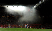 General View as Dimitar Berbatov of Manchester United and Toby Alderweireld of Ajax compete during the UEFA Europa League Round of 32 second leg...