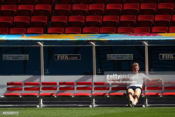 A general view as Dirk Kuyt sits on the bench during the Netherlands training session prior to their 3rd Place Playoff match between the Netherlands...