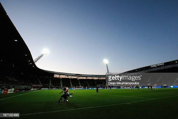 A general view as Dirk Marcellis of AZ and Jetro Willems of PSV battle for the ball during the Eredivisie match between AZ Alkmaar and PSV Eindhoven...