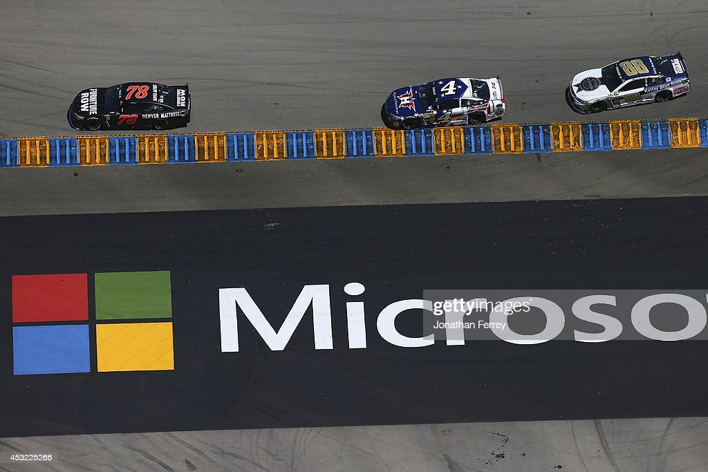 General view as drivers race during the NASCAR Sprint Cup Series Toyota/Save Mart 350 at Sonoma Raceway on June 22 2014 in Sonoma California