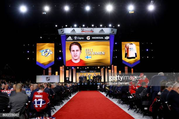 A general view as Eeli Tolvanen is selected 30th overall by the Nashville Predators during the 2017 NHL Draft at the United Center on June 23 2017 in...