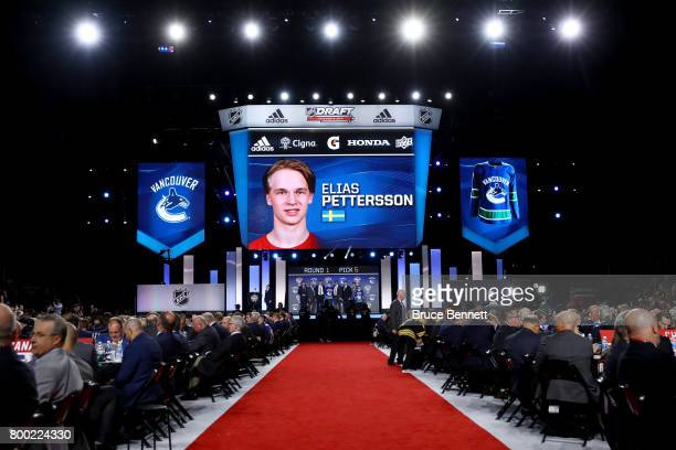 A general view as Elias Pettersson is selected fifth overall by the Vancouver Canucks during the 2017 NHL Draft at the United Center on June 23 2017...