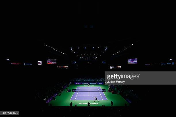A general view as Eugenie Bouchard of Canada plays Simona Halep of Romania during day one of the BNP Paribas WTA Finals tennis at the Singapore...