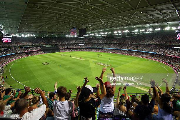 A general view as fans enjoy the show during the Big Bash League match between the Melbourne Renegades and the Melbourne Stars at Etihad Stadium on...