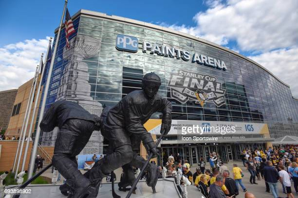 General view as fans enter the arena by the Mario Lemieux statue before Game Five of the 2017 NHL Stanley Cup Final between the Nashville Predators...