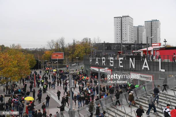 A general view as fans gather outside the ground prior to the Premier League match between Arsenal and Tottenham Hotspur at Emirates Stadium on...