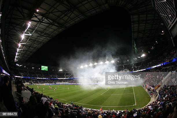General view as fans let off a flare following the Red Bulls goal against the Chicago fire at Red Bull Arena on March 27 2010 in Harrison New Jersey...