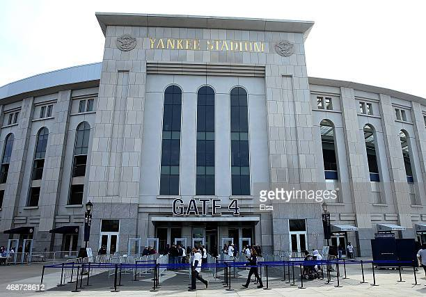 General view as fans line up to enter Gate 4 before the game between the New York Yankees and the Toronto Blue Jays on Opening Day on April 6 2015 at...