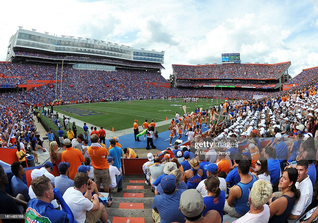 General view as fans of the Florida Gators fill the stadium for play against the Tennessee Volunteers September 21 2013 at Ben Hill Griffin Stadium...