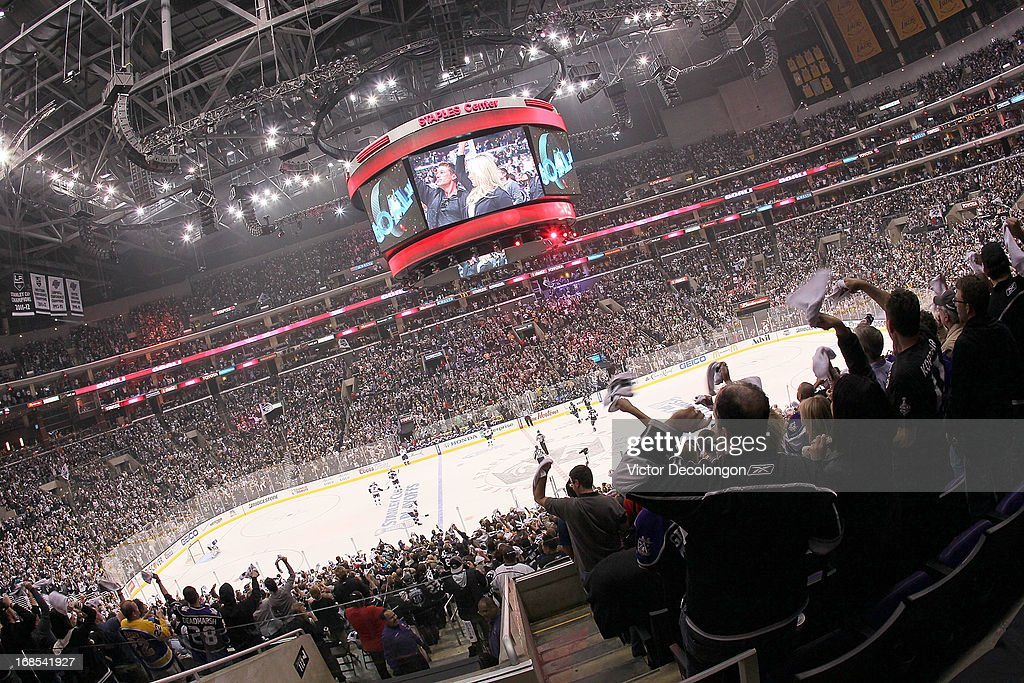 General view as fans react after a first period goal by Drew Doughty #8 of the Los Angeles Kings (not in photo) against the St. Louis Blues in Game Six of the Western Conference Quarterfinals during the 2013 NHL Stanley Cup Playoffs at Staples Center on May 10, 2013 in Los Angeles, California. The Kings defeated the Blues 2-1 to win the series 4 games to 2 to advance to the Western Conference Semifinal.