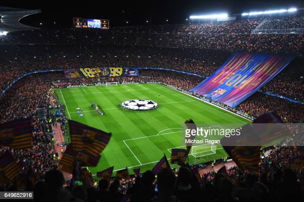 A general view as fans show their support as the teams line up prior to the UEFA Champions League Round of 16 second leg match between FC Barcelona...