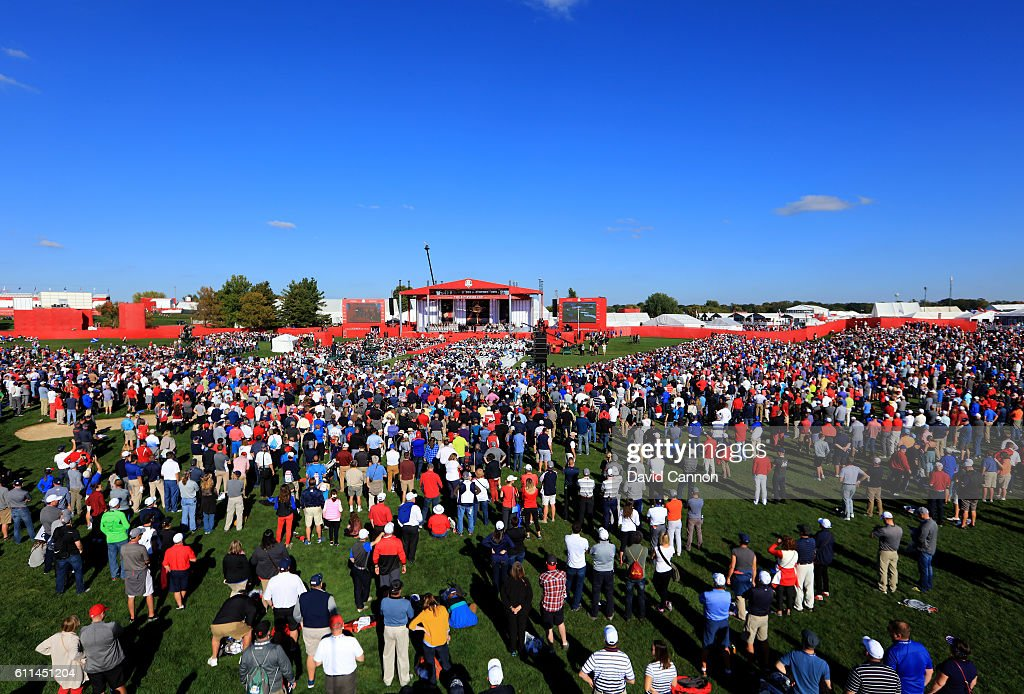 A general view as fans watch the 2016 Ryder Cup Opening Ceremony at Hazeltine National Golf Club on September 29, 2016 in Chaska, Minnesota.
