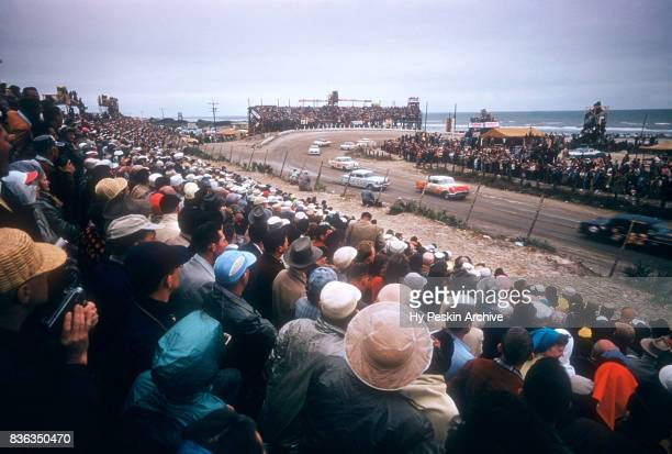 General view as fans watch the action during the Daytona Beach and Road Course on February 26 1956 in Daytona Beach Florida