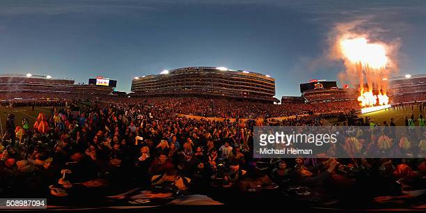 A general view as fans watch the Pepsi Super Bowl 50 Halftime Show at Levi's Stadium on February 7 2016 in Santa Clara California
