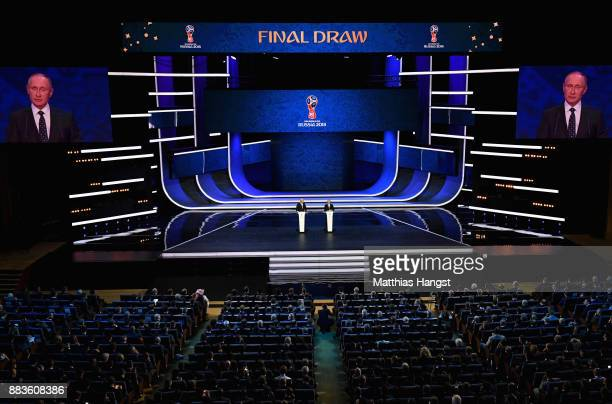 A general view as FIFA President Gianni Infantino and Vladimir Putin President of Russia speaks to the crowd during the Final Draw for the 2018 FIFA...