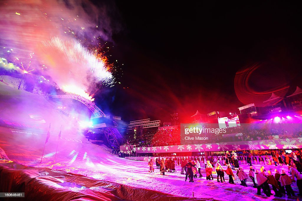 General view as fireworks explode during the opening ceremony for the Alpine FIS Ski World Championships on February 4, 2013 in Schladming, Austria.