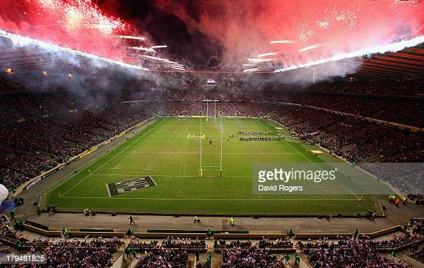 A general view as fireworks go off ahead of the Aviva Premiership match between Harlequins and Saracens at Twickenham Stadium on December 27 2011 in...