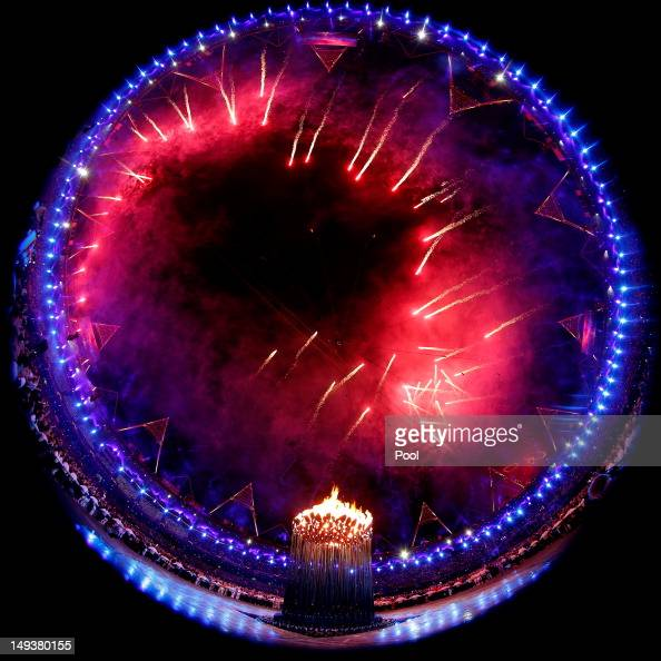 General view as fireworks illuminate the stadium during the Opening Ceremony of the London 2012 Olympic Games at the Olympic Stadium on July 27 2012...