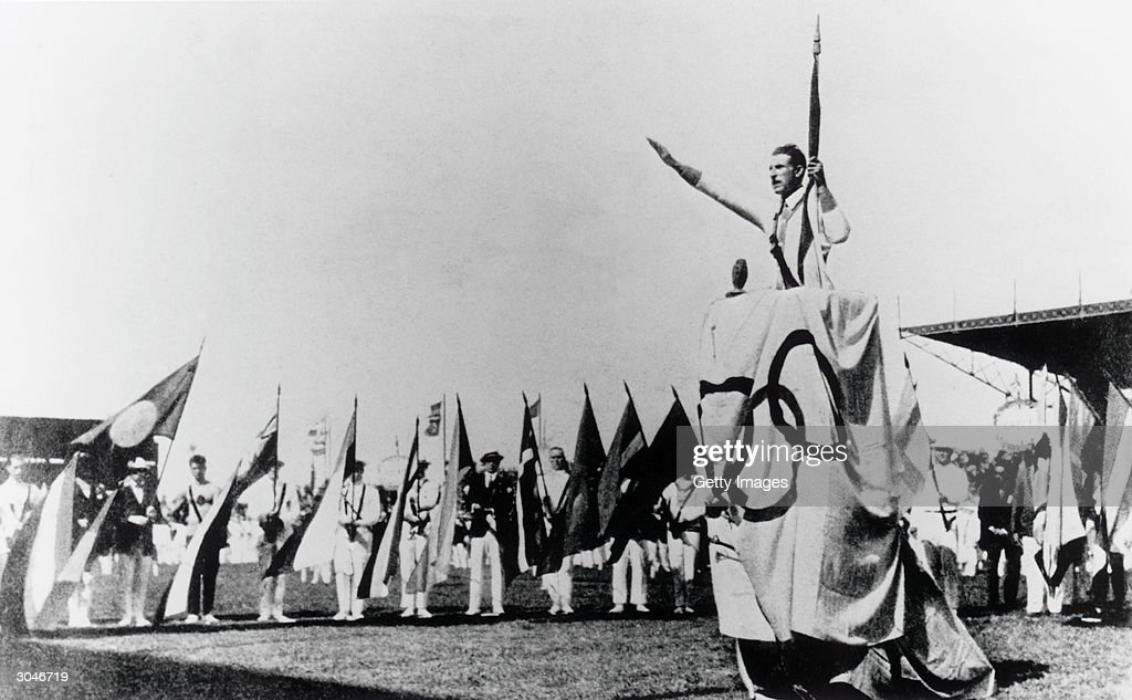 General view as Georges Andre lends the Olympic Oath during the opening ceremonies of the VIII Olympic Games on May 4, 1924 in Paris, France.