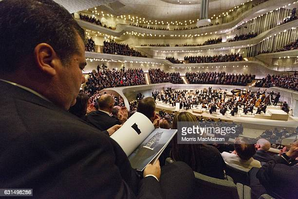 A general view as German President Joachim Gauck delivers a speech during the opening concert of the Elbphilharmonie concert hall on January 11 2017...