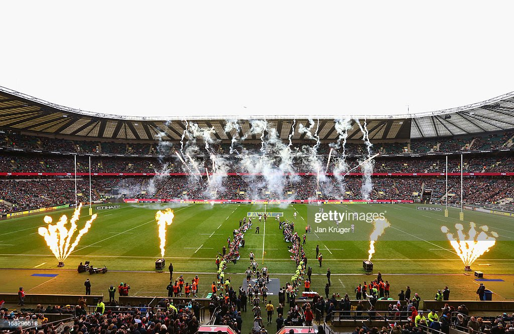 A general view as Harlequins walk out during the Aviva Premiership match between Harlequins and London Irish at Twickenham Stadium on December 29, 2012 in London, England.