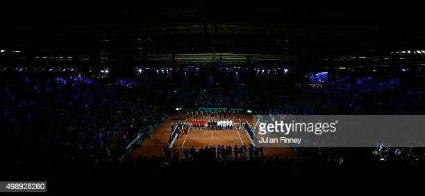 A general view as he teams and officials are presented to the spectators prior to the singles matches on day one of the Davis Cup Final 2015 at...
