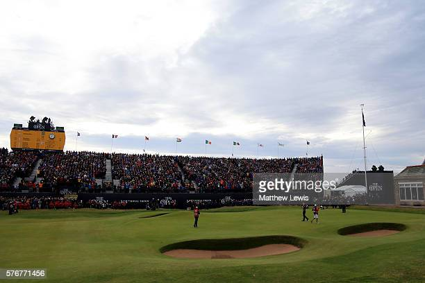 A general view as Henrik Stenson of Sweden celebrates victory after the winning putt the 18th green during the final round on day four of the 145th...