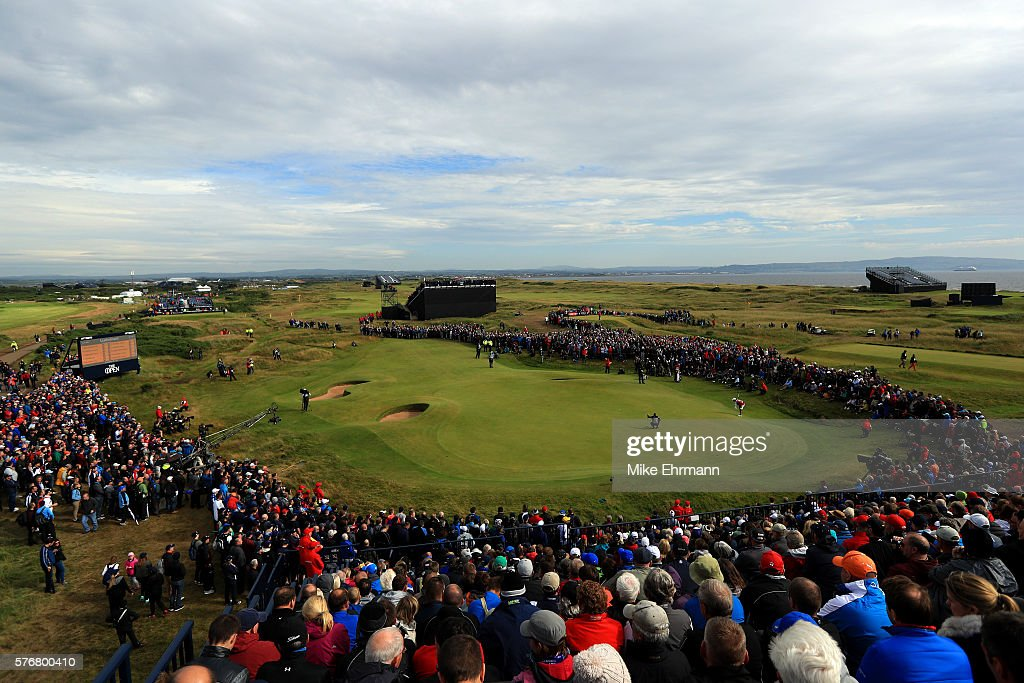 A general view as Henrik Stenson of Sweden putts on the 14th green during the final round on day four of the 145th Open Championship at Royal Troon on July 17, 2016 in Troon, Scotland.