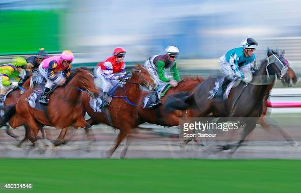 A general view as horses race during race 9 the Banjo Paterson Series Final during Flemington Finals Day at Flemington Racecourse on July 11 2015 in...