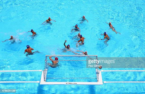 General view as Hungary score a goal in the Men's Classification 7th8th Place Match during day nine of the Baku 2015 European Games at the Water Polo...