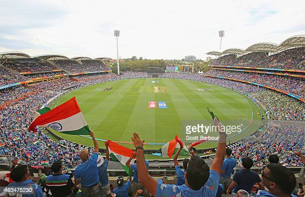 A general view as Indian fans in the crowd show their support during the 2015 ICC Cricket World Cup match between India and Pakistan at Adelaide Oval...