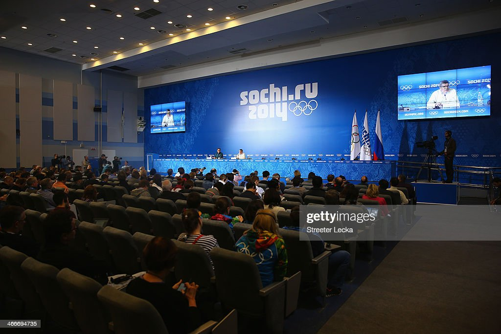 A general view as International Olympic Committee President Thomas Bach attends a press conference ahead of the Sochi 2014 Winter Olympics at the...