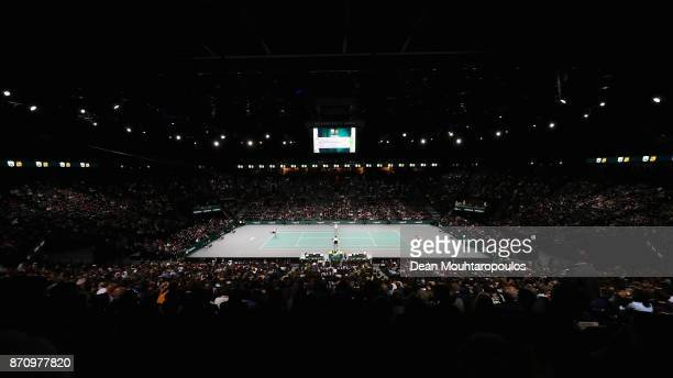A general view as Jack Sock of the USA competes against Filip Krajinovic of Serbia during the Mens Final on day 7 of the Rolex Paris Masters held at...